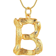 Gold Bamboo Alfabet / List Necklace - B