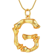 Gold Bamboo Alfabet / List Necklace - G