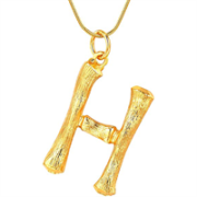 Gold Bamboo Alfabet / List Necklace - H