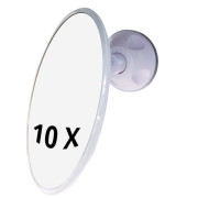 UNIQ Bathroom Mirror with Suction x10 Magnification - White