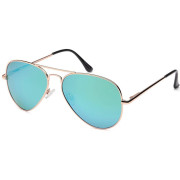 Lux® Aviator Pilot Sunglasses - Green Mirrored Glass, Silver Frame