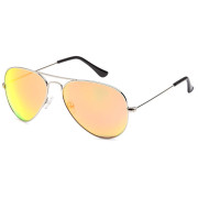 Lux® Aviator Pilot Sunglasses - Yellow Mirrored Glass, Silver Frame