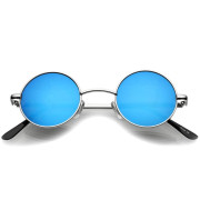 Retro Sunglasses - Round Blue Glass