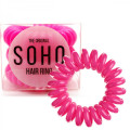 SOHO® Spiral Hair Ring Elastics, Neon Pink - 3 pcs