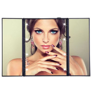 UNIQ® Vanity Tri-fold Makeup Mirror with LED Light - Black