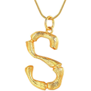 Gold Bamboo Alfabet / List Necklace - S